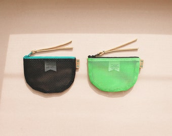 Halfmoon Coin Purse - Black or Lime Mesh