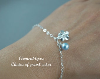 Flower charm bracelet sterling silver delicate jewelry bridesmaid gifts girl jewelry wedding bridal party gift choice of wedding color pearl
