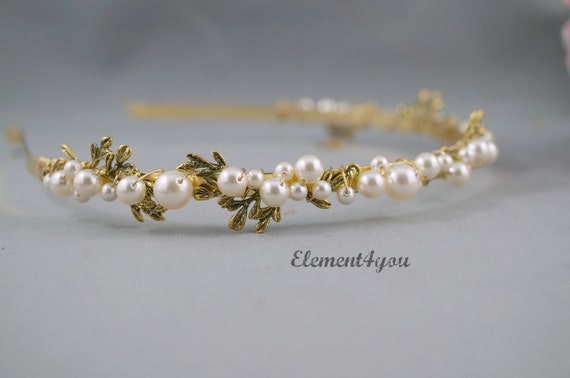 Bridal gold branch headband with pearls, Fall wedding hair accessories, Bridal gold band, Ivory or white pearls