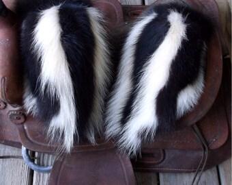 Skunk fur mittens with purple fleece liner handmade X X-large