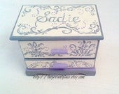 personalized jewelry box,grey,gray,lavender,cream,damask,girls jewelry box,kids jewelry box, girl gift,personalized girl gift,jewelry box