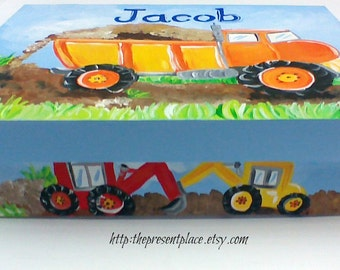 personalized,keepsake box,dump truck,build it theme,construction theme,boys keepsake box,baby memory box,kids box,children's box,new baby
