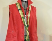 Red XL Cotton VEST - Scarlet Dyed Upcycled CJ Banks Cotton Jacket Vest - Adult Women's Plus Size Extra Large (48 chest)