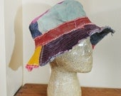 Dyed Denim Beach Bucket Sun HAT #61 - Rustic Pink Gold Green Blue Purple Dyed Upcyled Denim Fringed Frayed - Adult Size Large 23""