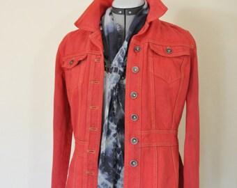 "Red Juniors Medium Denim Jacket- Scarlet Red Dyed Upcycled DKNY Denim Trench Jacket - Adult Womens Junior Size Medium (38"" chest)"