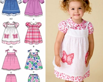 Toddler Dress Pattern, Pinafore Dress Pattern, Baby Dress Pattern, Sz 6 mo to 4, Simplicity Sewing Pattern 2461