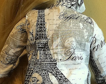 Black on White Print of Eiffel Tower on Long Sleeve Cotton SHIRT with Collar, Black SKIRT & White Pull-on SLACKS, Print Hat with Black Brim