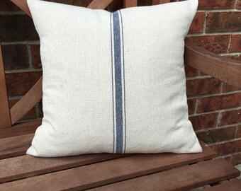 Grain Sack Pillow Cover Blue Stripe