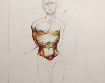 Original art-- colored pencil-- male figure