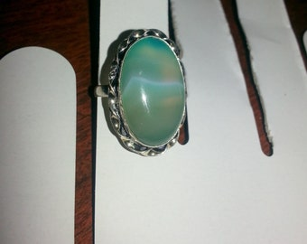 Silver Fluorite large ring  size 8  stone ring very nice and oval shape