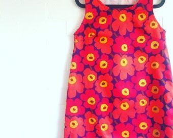 Marimekko Mini Unikko Sateen Dress Red Orange Navy Marimekko fabric
