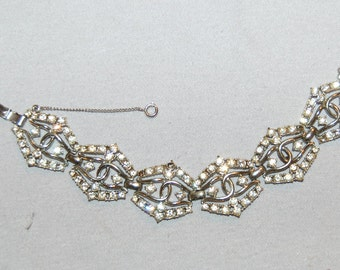 Vintage / Emmons / Rhinestone / Bracelet / Art Deco / Safety Chain / signed / designer / old jewellery / jewelry