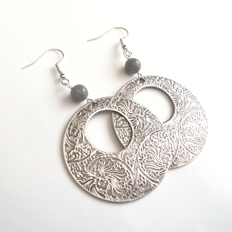 large silver tribal earrings statement earrings labradorite