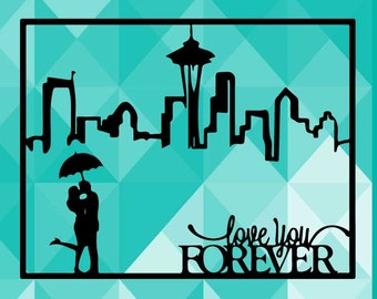 Seattle Washington Love You Forever, Kissing  Inspired Paper Cut File for silhouette or circut - SVG file - Srapbooking and Paper Art DYI