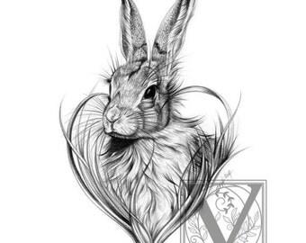 Rabbit Print - Cute Wild Rabbit - Limited Edition Giclée Print - Rabbit Art - Adorable Nature Art