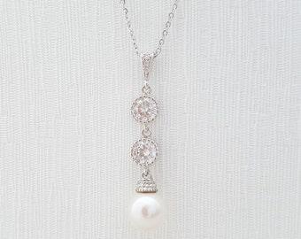 Pearl Bridal Necklace Swarovski Pearl Cubic Zirconia Wedding Jewelry Pearl Pendant Wedding Necklace Bridesmaid Necklace, Aubrey