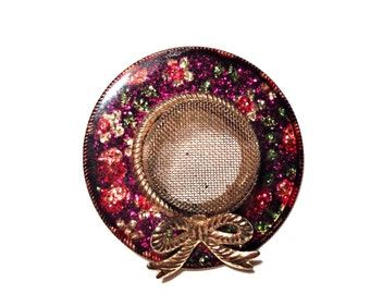 Vintage Hat Pin, Red White Green Enamel Flowers, Gold Mesh Hat Top, Gold Bow, VisionsOfOlde