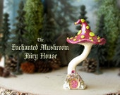 The Enchanted Woodland Mushroom Fairy House - Pearl Maroon Capped Woodland Fae House with Green Spots, Fairy Door & Flowering Window Box