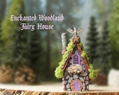 Enchanted Woodland Fairy House of The Bewildering Pine - Miniature Handcrafted Cottage with Mossy Roof, Fairy Door and Blooming Flower Box