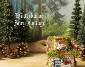 Winterburne Fairy House  -  Miniature Handcrafted Fae Cottage with Terracotta Roof, Blooming Flower Boxes, Stone Entry and Mossy Roof