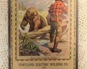 Portland Maine advertising for Portland Electric Welding Co. Calendar Art by Phillip Goodwin January 1930 Hunter and Black Bear