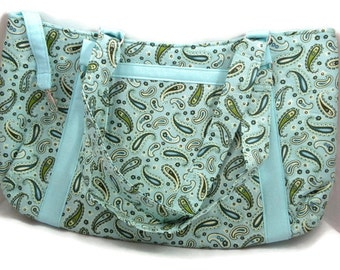 Teal Paisley Hobo Handbag