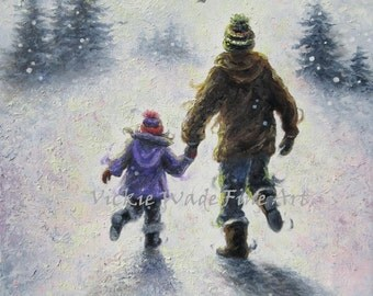 Snow Play Dad Daughter Original Oil Painting 12X16 wall art, winter, playing,  holding hands, fathers day, fatherhood, Vickie Wade Art