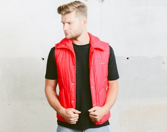 Vintage Red Vest . Mens 80's Sleeveless PUFFER VEST Jacket Gillet Sleeveless Jacket Hipster Outerwear . size small to Medium