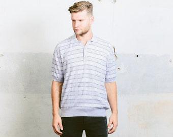 Vintage 70s Mens Polo Shirt . Purple Blue Striped Knit T-shirt Geometric Tennis Tee shirt Boyfriend Top . size Large