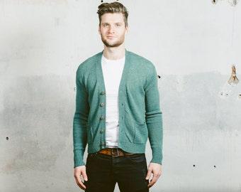 Vintage 80s Cardigan Sweater . Mens 1980s Grunge Green Plain Shetland Knit Hipster Button Up Preppy Jumper Retro . Medium