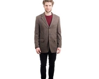SALE . HERRINGBONE TWEED Mens Blazer . Vintage 1980s Luxurious Preppy Brown Wool Jacket 80s Winter Retro Sport Coat Outerwear . Medium Large
