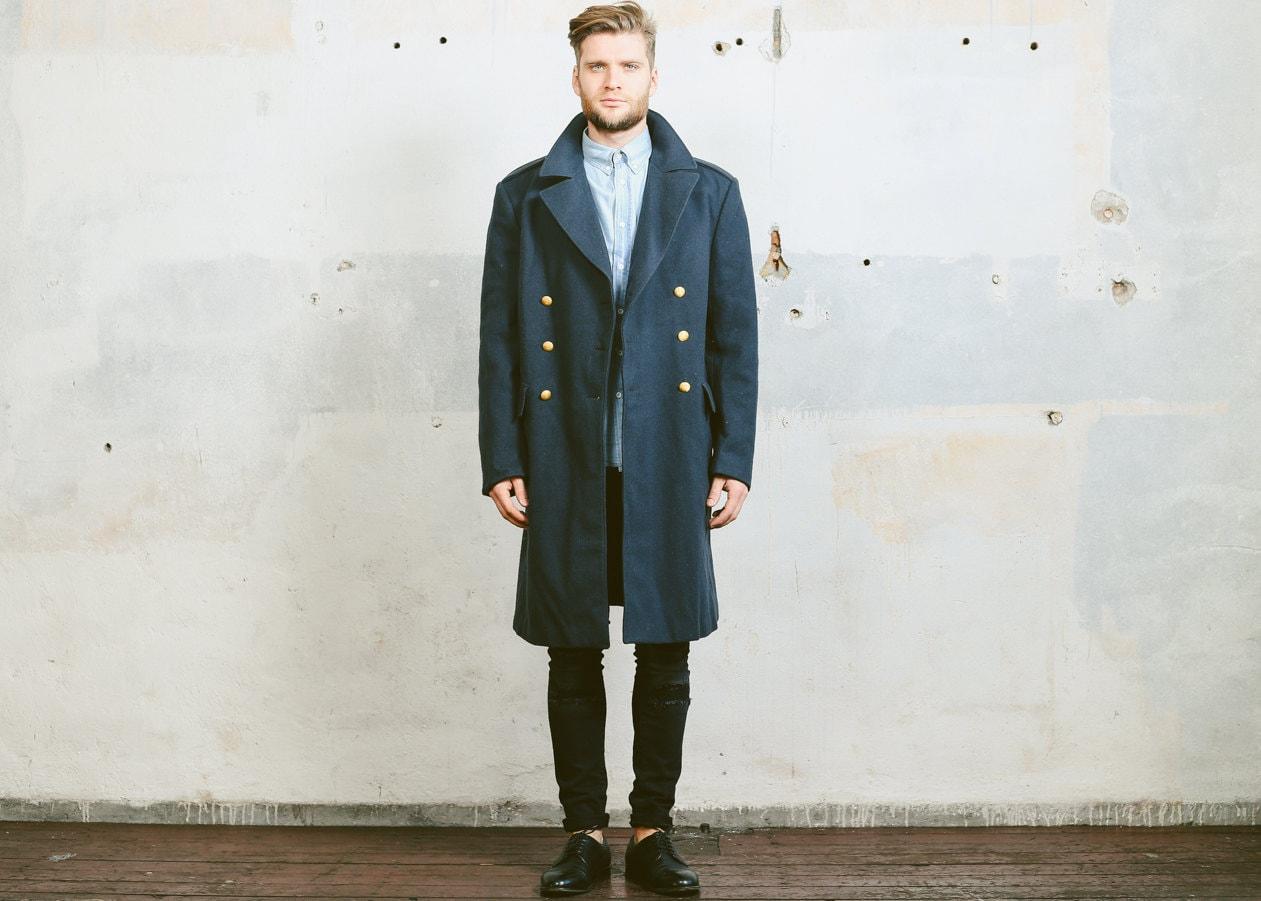 Mens Wool Coat . 1960s MILITARY GREATCOAT Swedish Grey