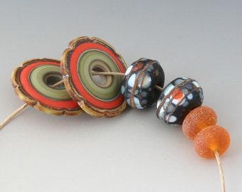 Rustic Artisan Pairs - (6) Handmade Lampwork Beads -  Coral, Green
