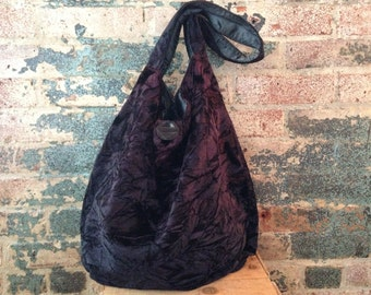 Ombre crinkled velvet one shoulder Boho bag