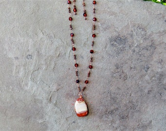 Hearts Desire Long Wire Wrapped Necklaces in Burgundy and Copper