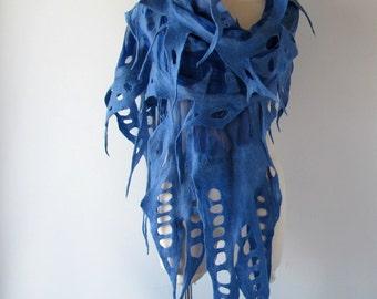 Nuno Felted scarf Ball felt scarf Blue stole Blue  nuno felted scarf Silk Wool shawl  felted shawl by Galafilc