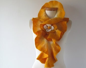 Felted scarf ruffle collar yellow ruffle scarf women scarf  scarf by GalaFilc