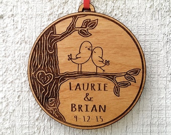 Love Birds Heart Customized Christmas Ornament for Him for Her Couples Gift Christmas Ornament Lover Personalized Names Date Tree Trunk