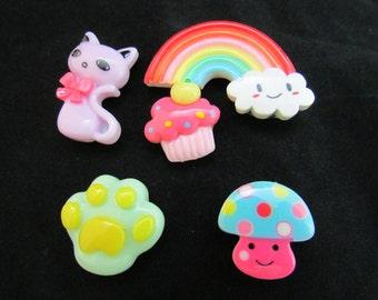 Kawaii magnets, cute magnets, cat magnet, paw magnet, rainbow magnet, assorted fridge magnets, fridge magnet set 489
