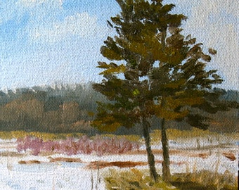Small oil painting, winter landscape, 5x7, plein air painting