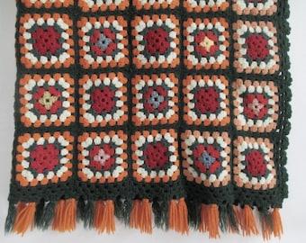 Crocheted Afghan Throw Granny Squares Lap Blanket Green Orange Wool Blend