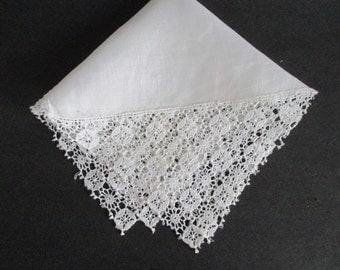 Linen Hankie Chemical Lace Corners Bridal Wedding