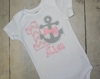 Girls Pinkand grey Anchor Nautical Birthday Applique Shirt- Free Personalization-All birthday numbers are available, other colors available