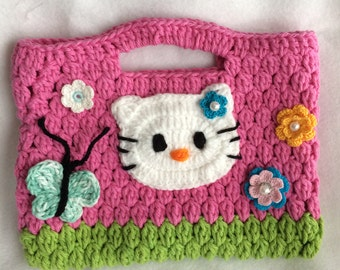 Crochet Hello Kitty hand bag purse for your little girl