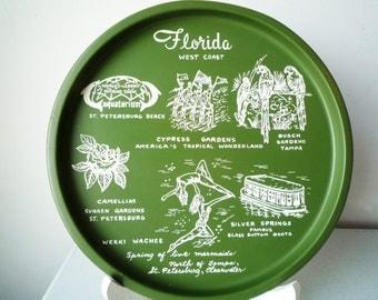 Midcentury Florida Souvenir Tray Round Green, SALE