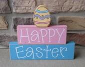 HAPPY EASTER Blocks for Easter, home, desk, shelf, mantle, holiday, october, jackolantern, pumpkin, decor