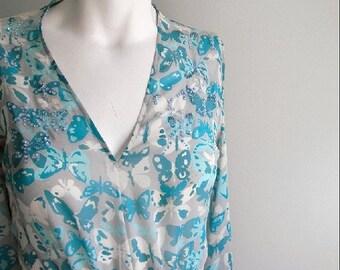 ON SALE vintage. Genny Butterfly Print Aqua Blues Flowy Silk Dress