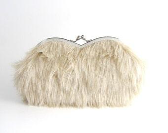 SALE Sunglasses case Eyeglasses Case Clutch Purse - Beige Fur