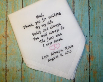 Father of the Bride Wedding Hankerchief Choose Thread colors and Design Personalized Embroidered FOB Handkerchief Keepsake Gift
