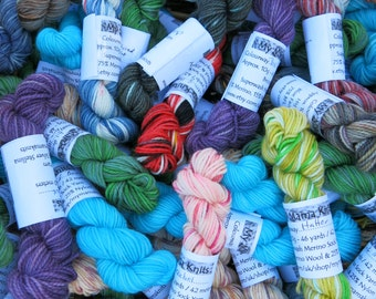 Random Mix Superwash Sock Yarn Mini Skein Pack / hand painted yarn / hand dyed sock wool / sock yarn / sock blanket yarn / yarn babies